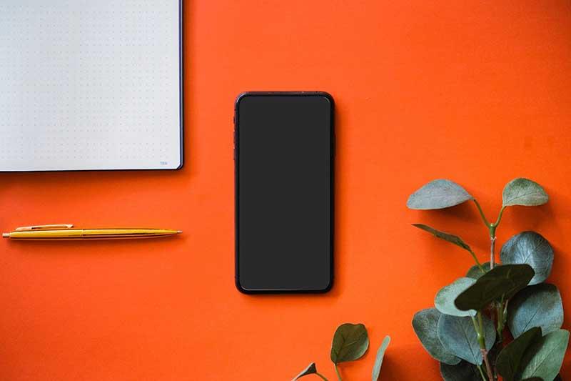 mobile phone orange background